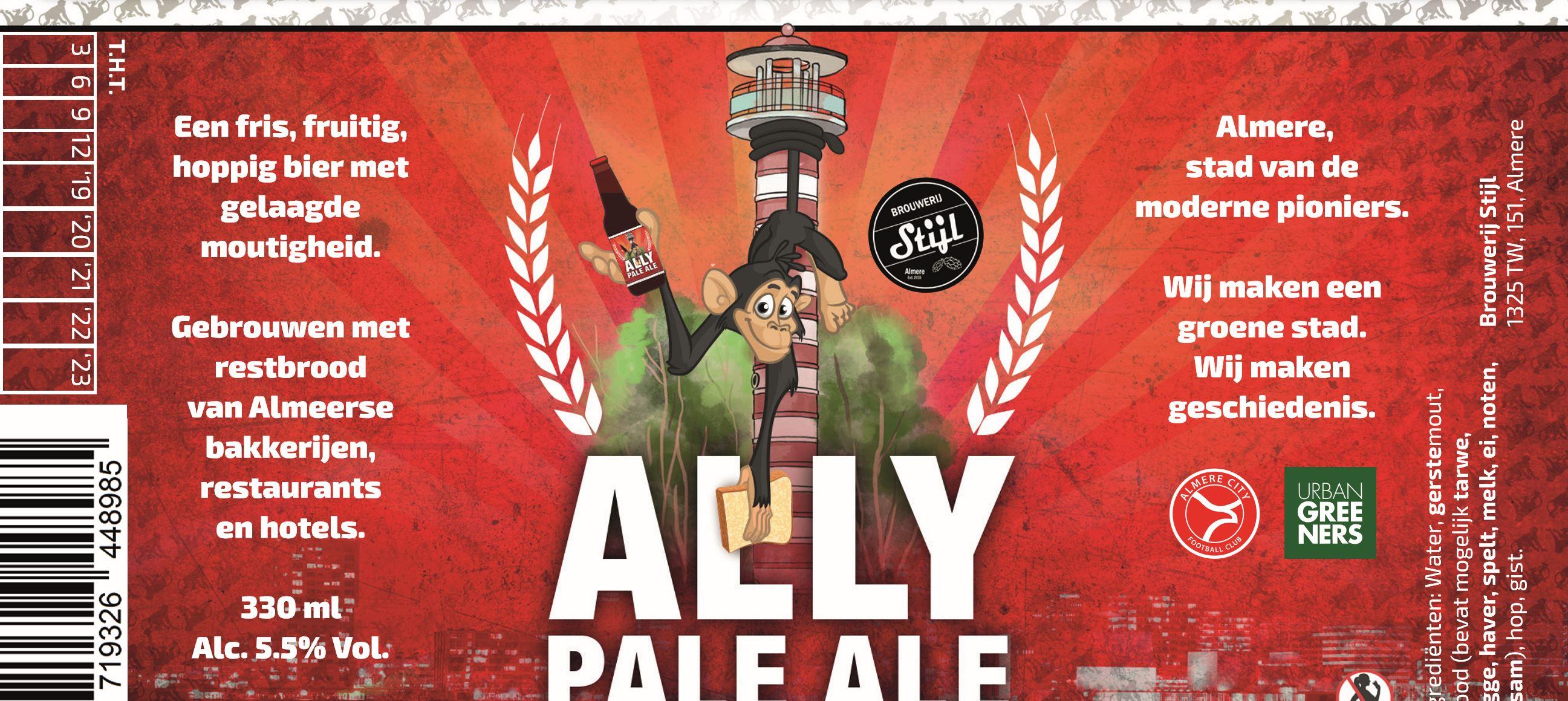 Ally boegbeeld van nieuw écht Almeers biertje van Brouwerij Stijl